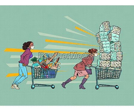 panikepidemie maskierte frauen in einem supermarkt