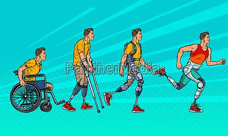 entwicklung der rehabilitation mann bein prothese