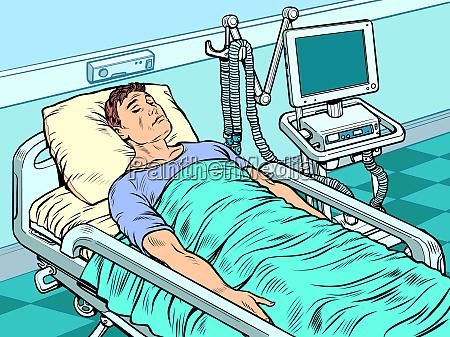 medizinische beatmungsmaschine schwerauft auf der intensivstation