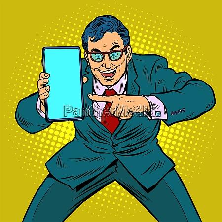 geschaeftsmann zeigt auf dem smartphone mobile