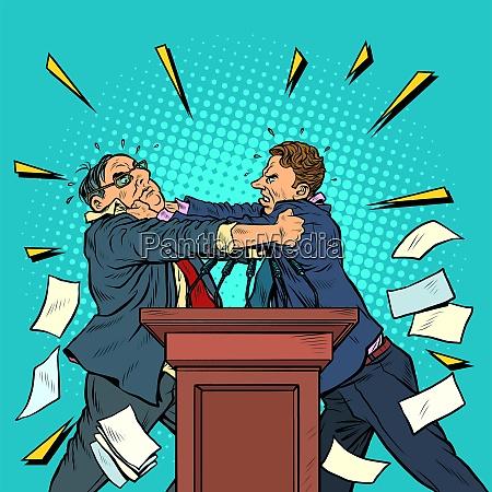 politiker kaempfen politische debatten