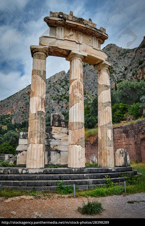athena, pronoia, tempelruinen, im, antiken, delphi, griechenland - 28398289