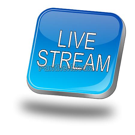 glaenzend blau livestream button 3d