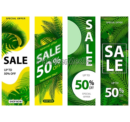 set of 4 sale banners with