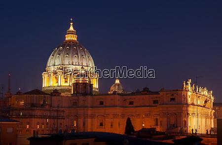 saint peter basilica lit at night
