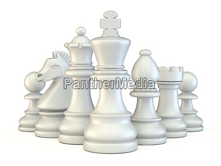 weisse schachfiguren 3d
