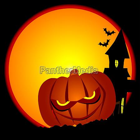 boese halloween kuerbis szene
