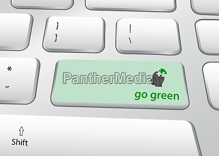 go green ecology concept pc keyboard