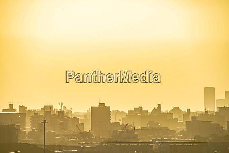 tokyo skyline silhouette und sonnenuntergang drehort