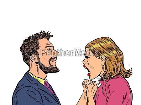 mann und frau streiten emotionen schreien