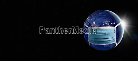 gesunder planet erde mit gesichtsmaske zum