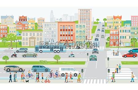 stadtsilhouette mit strassenverkehr und radfahrern auf