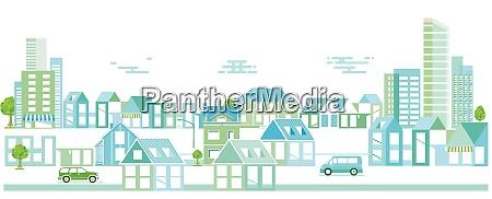 stadtsilhouette mit gewonnenen haeusern stadtbild panorama