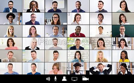 gruppenvideokonferenzbildschirm