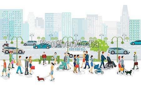 großstadt, mit, öffentlichem, nahverkehr, fußgängern, und, straßenverkehr, illustration - 28458687