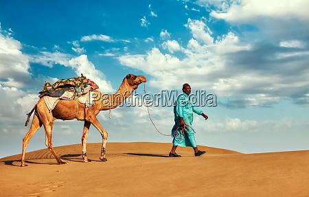 kamel-kameltreiber, mit, kamelen, in, rajasthan, indien - 28467407