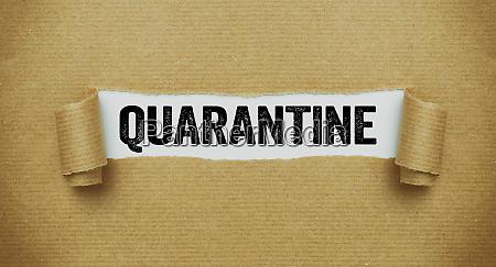 zerrissenes papier das das wort quarantaene