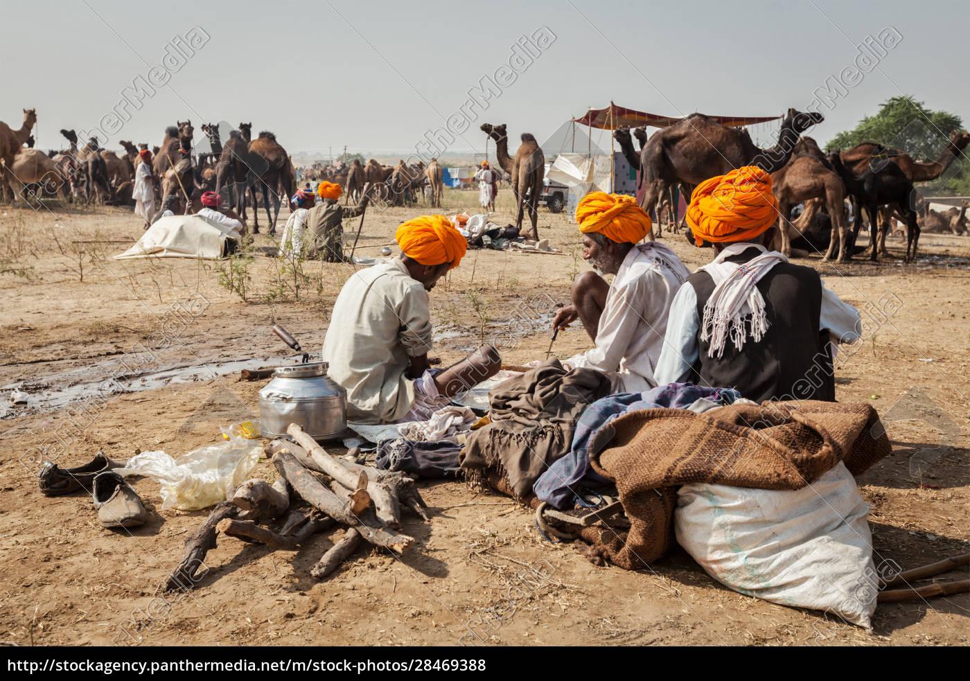 indian, men, and, camels, at, pushkar - 28469388