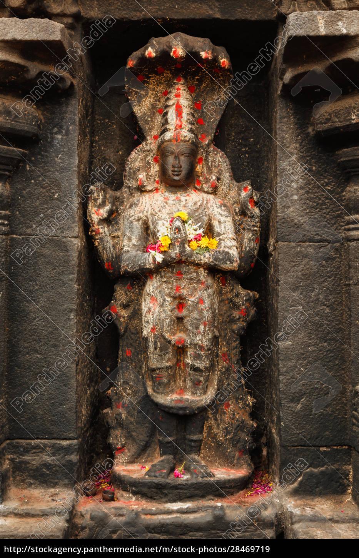 vishnu-bild, im, hindu-tempel., arunachaleswarar, tempel, tiruvannamalai, tamil, nadu, indien - 28469719