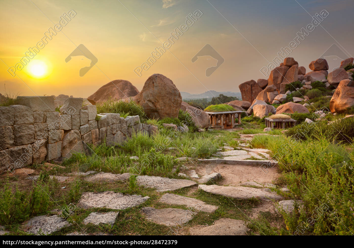 ancient, ruins, in, hampi, on, sunset. - 28472379