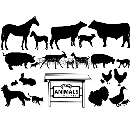 farm animals silhouetten