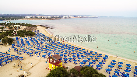 aerial makronissos beach ayia napa zypern
