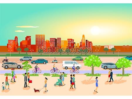 stadtsilhouette mit wohnhaus haeusern stadtbildpanorama
