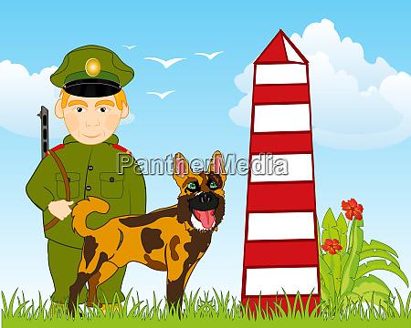 soldat grenzgaenger auf der post mit