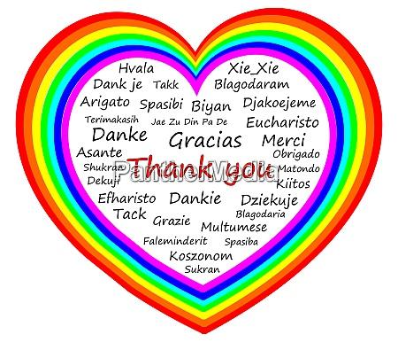 danke wordcloud auf einem regenbogenherz