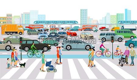 rush hour verkehr in der grossstadt