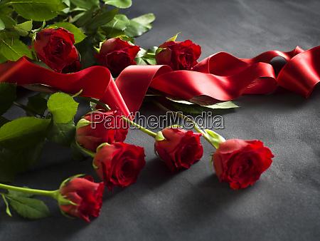 band mit einem haufen roter rosen