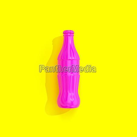 fuchsia flasche auf gelbem hintergrund in