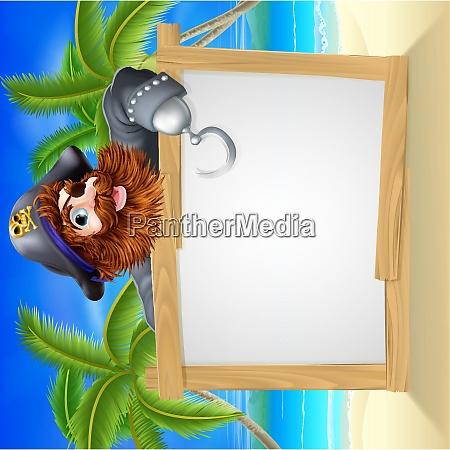 cartoon pirate beach sign