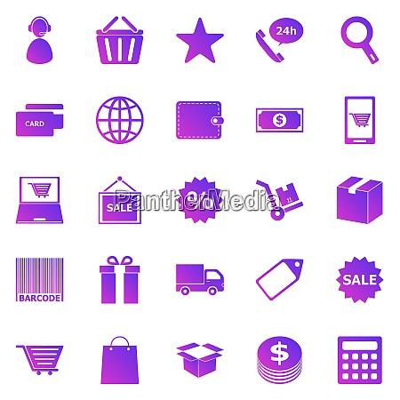e commerce farbverlaufssymbole auf weissem hintergrund