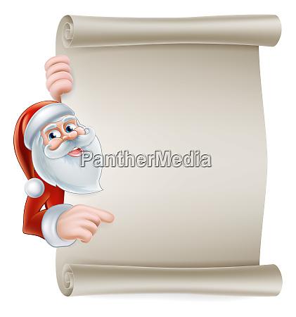 cartoon santa scroll sign