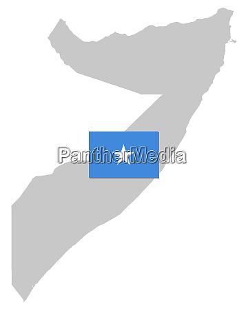 fahne und landkarte von somalia