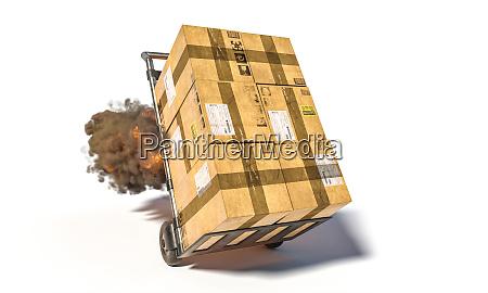 handtruck mit verschiedenen paketen mit flammen