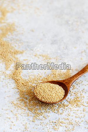 spoon of raw amaranth grain