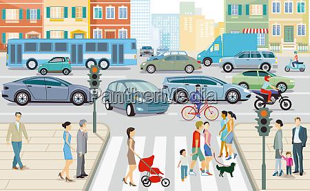 straßenverkehr, in, der, stadt, abbildung - 28536959