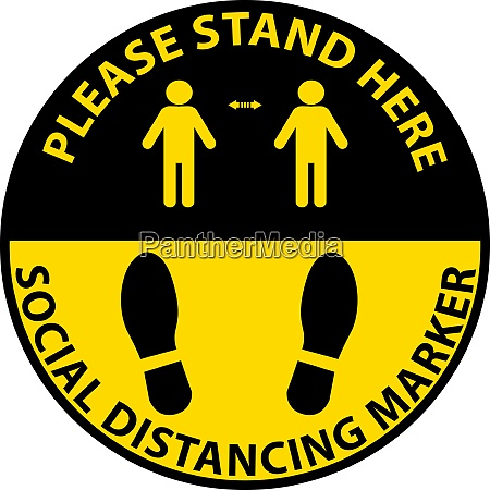 stehen sie hier soziale distancing marker