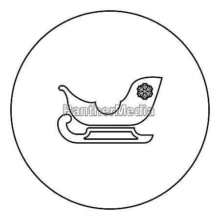 schlitten santa claus schwarz symbol umriss