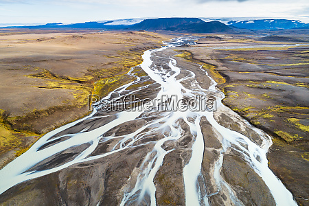 aerial view of jokulvisl glacial river
