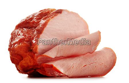 piece of fresh ham isolated on