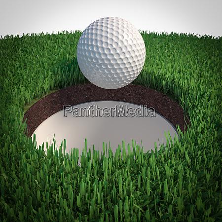 detail eines golfballs der in das