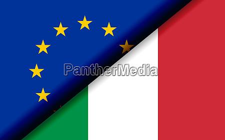 flaggen der eu und italiens diagonal
