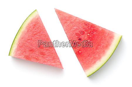wassermelone scheiben isoliert auf weissem hintergrund
