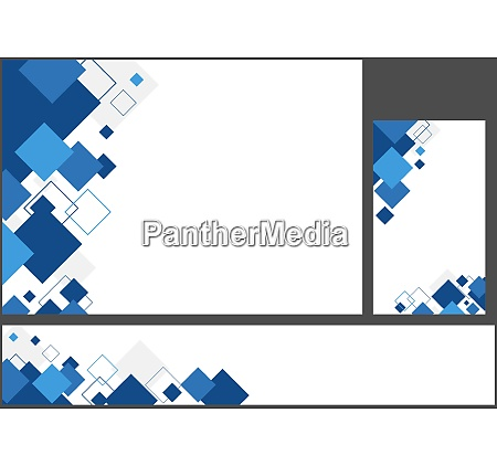 set of blue geometric backgrounds with