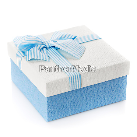 blaue geschenk box mit band und