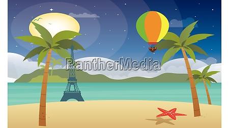 heissluftballon fliegt ueber strandhoehe