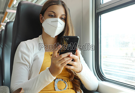 relaxed woman with kn95 ffp2 face